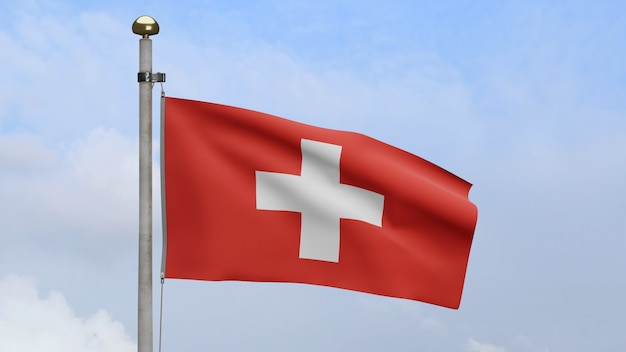 3d, bandiera della svizzera che ondeggia sul vento con cielo blu e nuvole. soffiatura di striscioni svizzeri, seta morbida e liscia. fondo del guardiamarina di struttura del tessuto del panno. usalo per il concetto di festa nazionale e occasione di campagna.