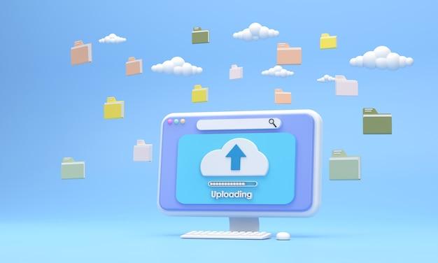 Schermo del computer del sistema 3d che carica i file con la rete del sistema c'era una cartella di documenti