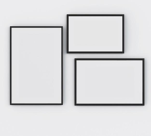 3d poster di tre frame. concetto di mockup