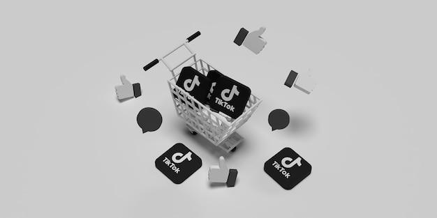 Logo 3d tiktok sul carrello come concetto per il concetto di marketing creativo con superficie bianca resa