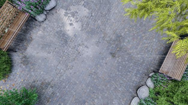 3d vista dall'alto del parco pubblico durante la stagione delle piogge parco pubblico con panca in legno e pavimentazione in pietra