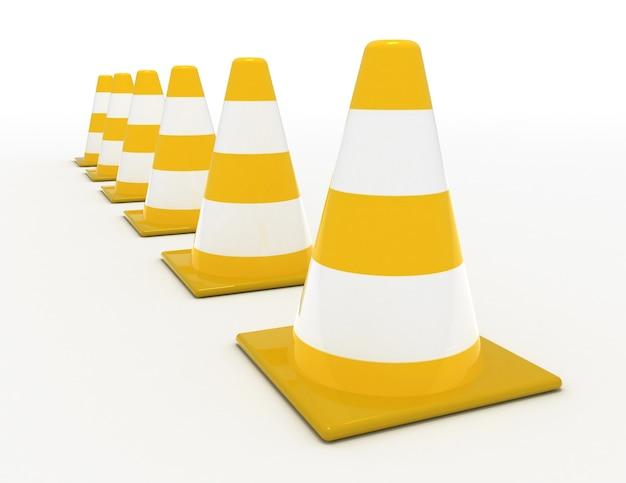 Concetto di cono stradale 3d .3d ha reso l'illustrazione