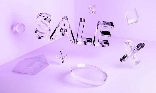 Iscrizione di vendita al neon in vetro trasparente 3d e forme geometriche nell'angolo. concetto