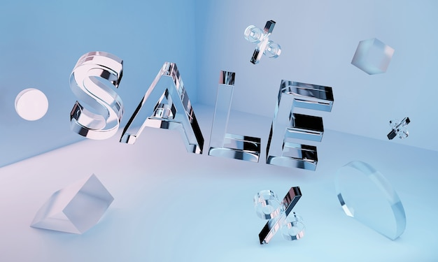 Iscrizione di vendita al neon in vetro trasparente 3d e forme geometriche nell'angolo