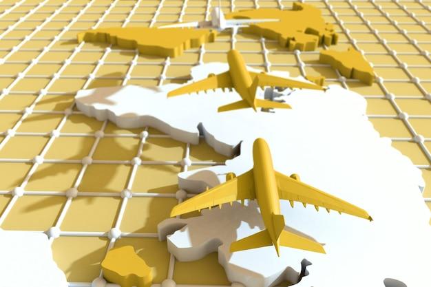 3d viaggiare in tutto il mondo in aereo. illustrazione 3d. in giro per il mondo in aereo. concetto di viaggio nel mondo