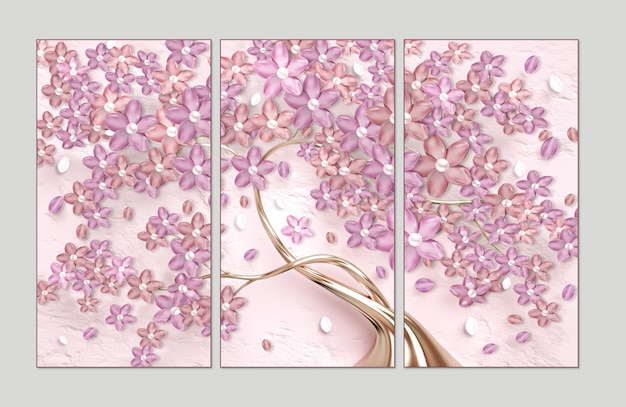 3d albero di fiori di rosa con carta da parati di perle 3 pezzi di cornice a parete