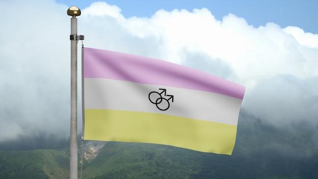Bandiera di twinkie 3d che ondeggia sul vento in montagna. primo piano di twink banner che soffia, seta morbida e liscia. fondo del guardiamarina di struttura del tessuto del panno. usalo per l'orgoglio gay day e il concetto di eventi.