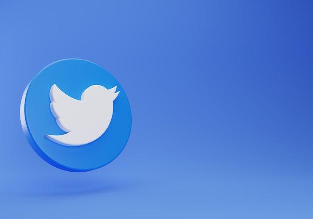 Logo 3d twitter galleggiante modello minimo di design semplice