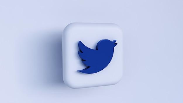Rendering di concetto di logo twitter 3d isolato