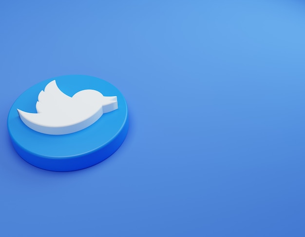 Logo di twitter 3d sul modello di design semplice minimale del pavimento