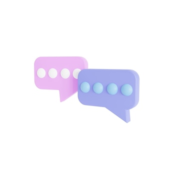 3d due bolle di chat viola e rosa su sfondo bianco. concetto di messaggi sui social media. illustrazione di rendering 3d