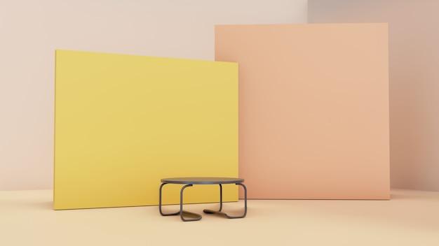 Stanza interna irrealistica 3d con tavolo in ferro e parete di supporto