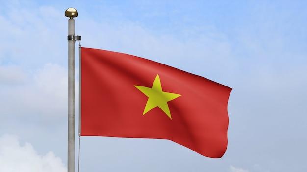 3d, bandiera vietnamita che ondeggia sul vento con cielo blu e nuvole. bandiera del vietnam che soffia, seta morbida e liscia. fondo del guardiamarina di struttura del tessuto del panno. usalo per il concetto di festa nazionale e occasione di campagna