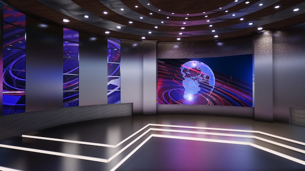 Notizie 3d virtual tv studio, illustrazione 3d