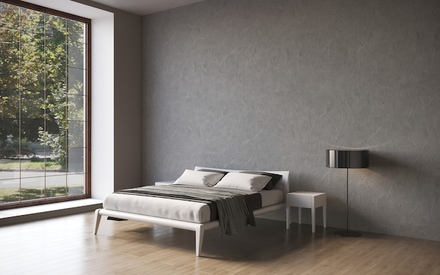 Visualizzazione 3d di un letto matrimoniale con comodini in un rendering cg interno minimalista