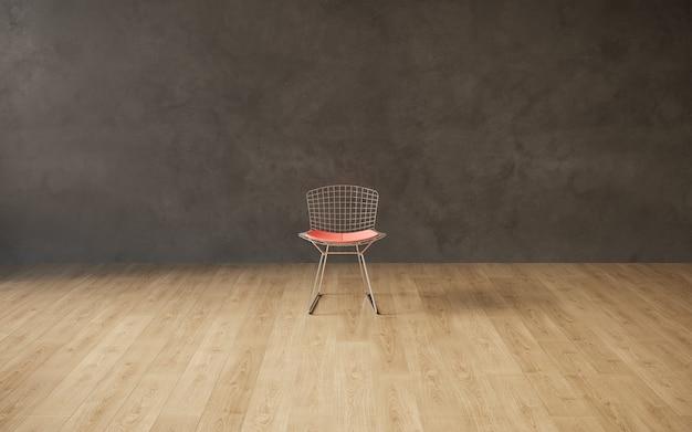 Visualizzazione 3d di una sedia da ristorante in un interno minimalista rendering 3d spazio copia cg render
