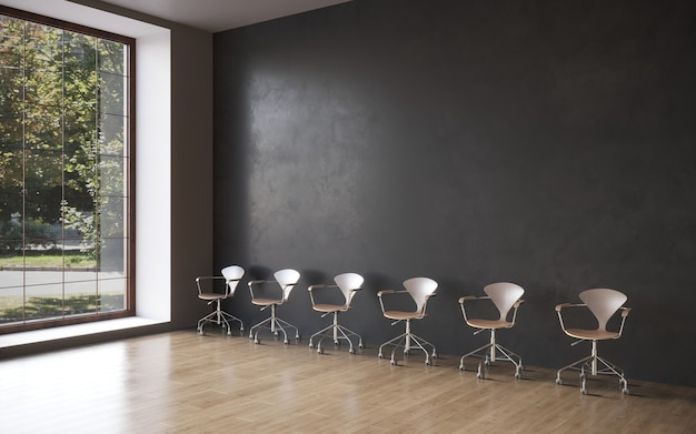 Visualizzazione 3d di una sedia da ristorante in un interno minimalista rendering 3d copia spazio cg render