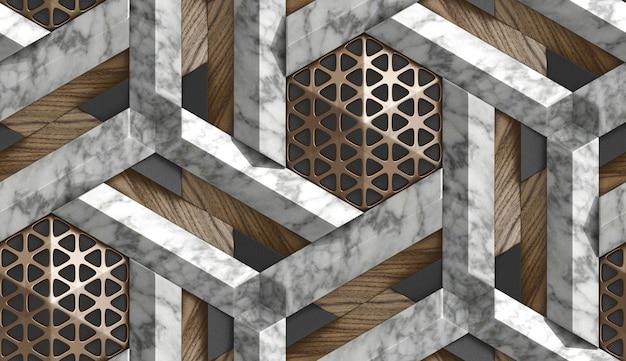 Carta da parati 3d sotto forma di imitazione di un mosaico decorativo di metallo marrone, marmo bianco e elementi in legno marrone