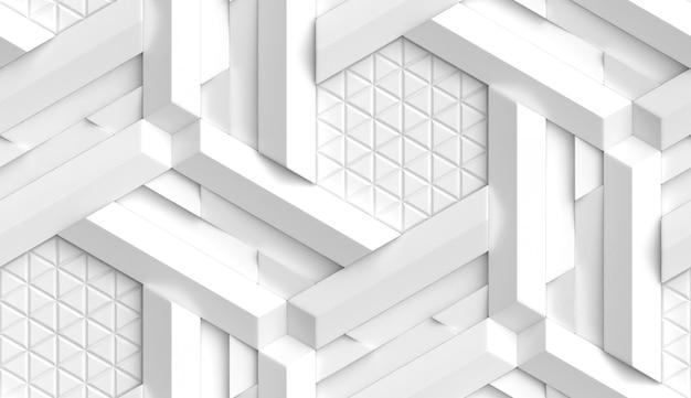 Carta da parati 3d sotto forma di imitazione di un mosaico decorativo origami di colore bianco