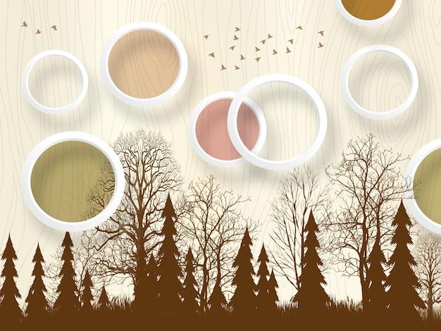 3d wallpaper murale arte marrone albero di natale e cerchi con uccelli e sfondo chiaro
