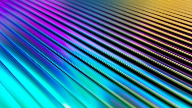 Superficie ondulata 3d. fondo d'ondeggiamento astratto con increspature al neon.