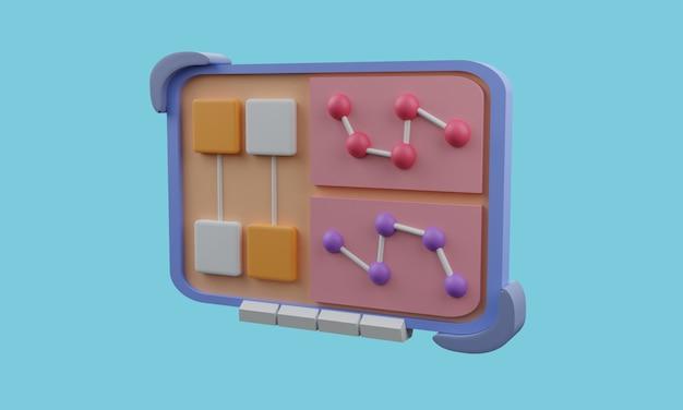 Icona web 3d con fili e sfondo blu