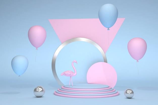 Fenicottero rosa della decorazione festiva di concetto del partito di feste di fine settimana 3d sul podio blu contro fondo pastello con palloncini