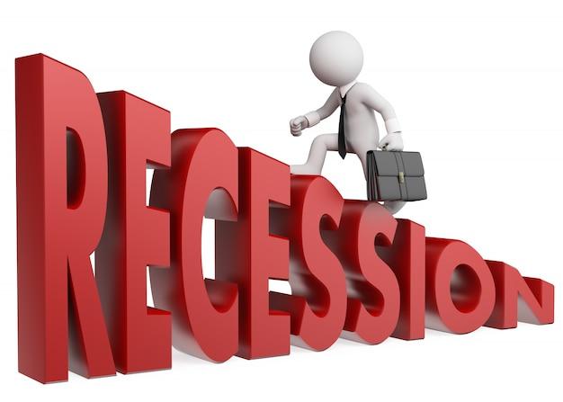 Uomo d'affari bianco 3d che scala la recessione di parola