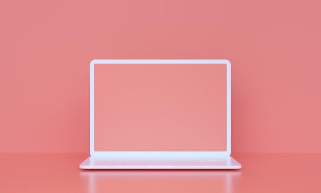 Taccuino bianco del computer 3d con lo schermo vuoto su fondo rosa