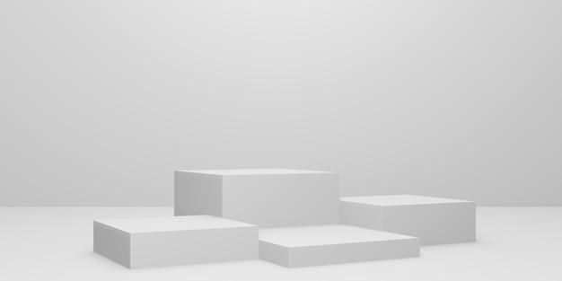 Podio o piedistallo cubo bianco 3d con sala studio vuota, sfondo prodotto minimo, modello mock up per la visualizzazione, geometrico di forma quadrata