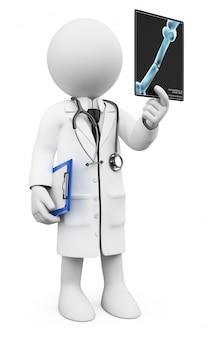 Medico bianco 3d che esamina i raggi x.