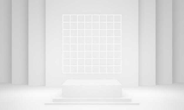 Fase geometrica bianca 3d. podio.
