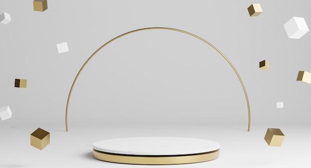 Podi minimali 3d bianchi e oro, piedistalli, gradini sullo sfondo e cornice dorata rotonda. modello. rendering 3d.