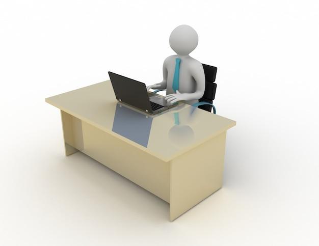 3d umano bianco seduto a un tavolo