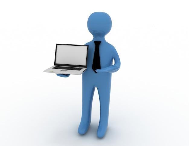 Uomo bianco 3d in piedi con un laptop