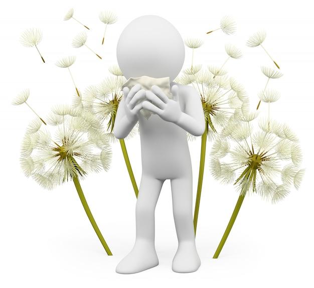 Uomo bianco 3d con fiori