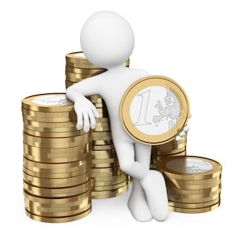 Uomo bianco 3d con pile di monete in euro