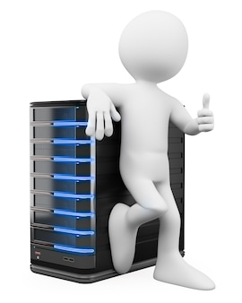 Uomo bianco 3d con un pollice in su e un server
