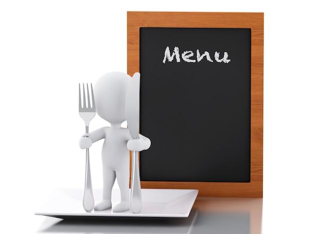 3d persone bianche chef con menu a bordo, forchetta e coltello.