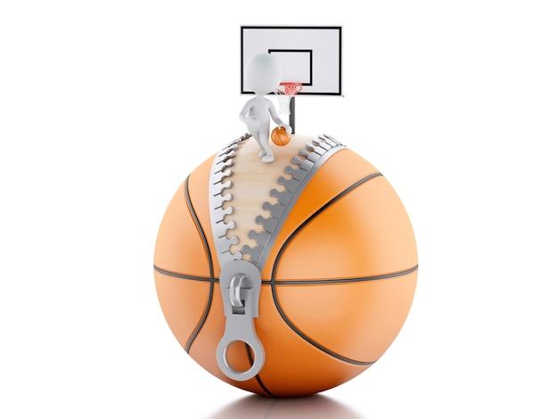 Gente bianca 3d che gioca sopra la palla di pallacanestro