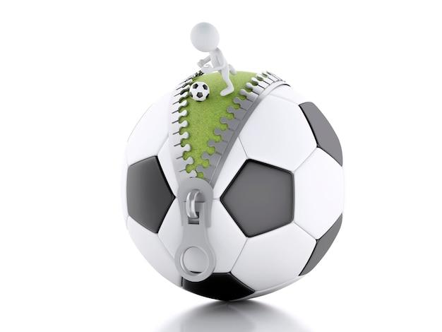 Gente bianca 3d che gioca in cima a pallone da calcio