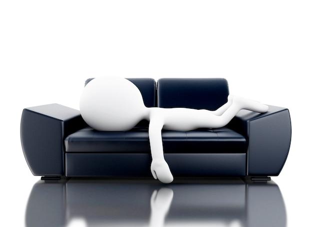 3d bianchi rilassati sul divano.