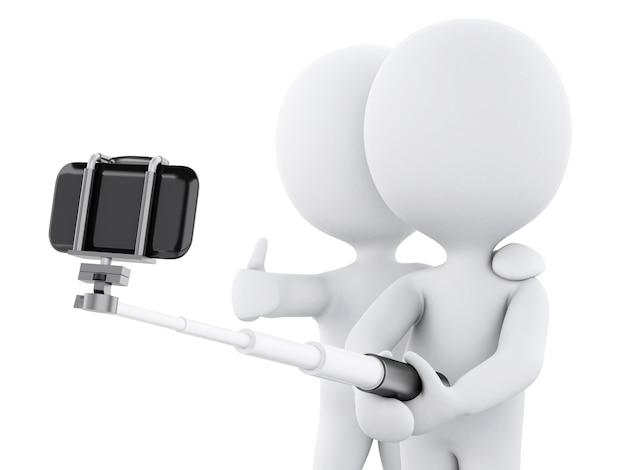 Gente bianca 3d prendendo selfie
