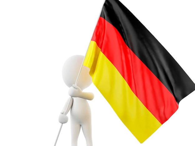 Gente bianca 3d con bandiera della germania.