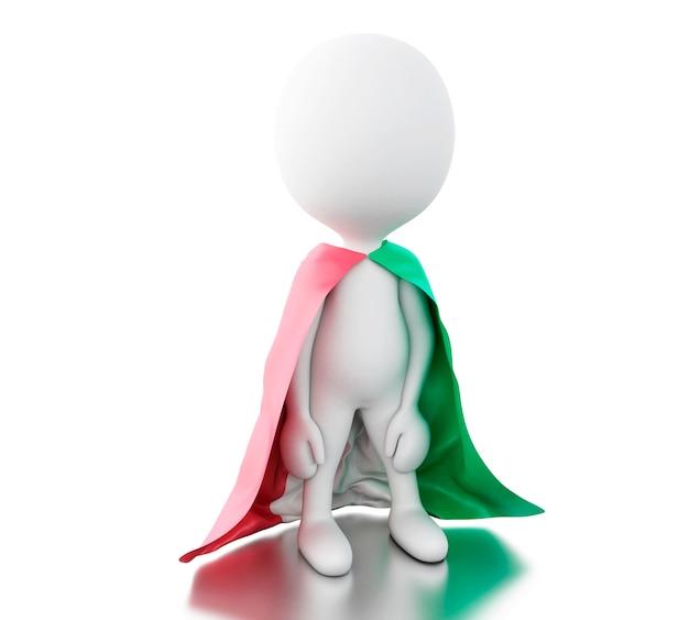 Gente bianca 3d con bandiera italia.