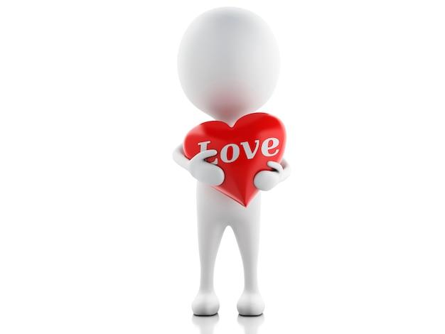 Gente bianca 3d con cuore rosso, fondo bianco isolato.