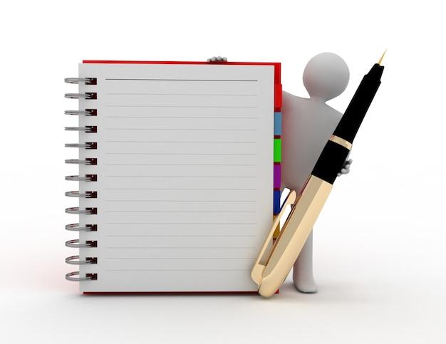 Persona bianca 3d con il blocco note a spirale in bianco e una penna