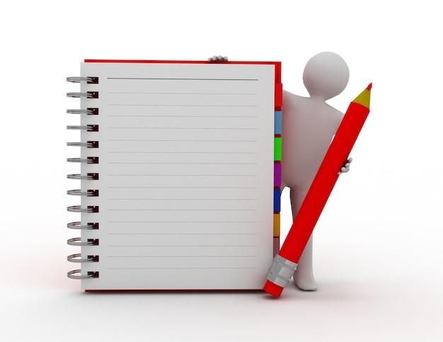 Persona bianca 3d con il blocco note a spirale in bianco e una matita
