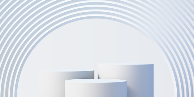 Podio prodotto bianco 3d mock up sfondo per la presentazione con sfondo bianco astratto, rendering 3d