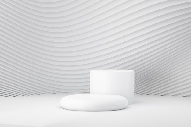 Podio rotondo bianco 3d sulla parete bianca dell'onda della curva. rendering dell'illustrazione 3d.